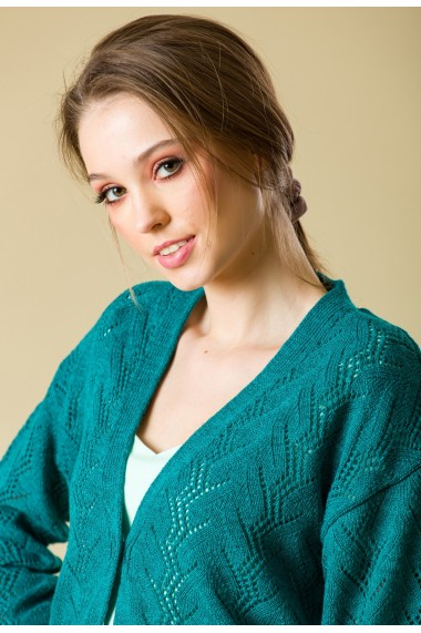Jacheta Sense tricotata Jade verde