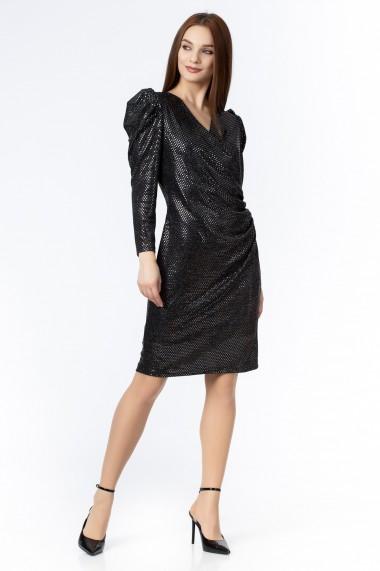 Rochie scurta Sense jersey Shiny negru+gri