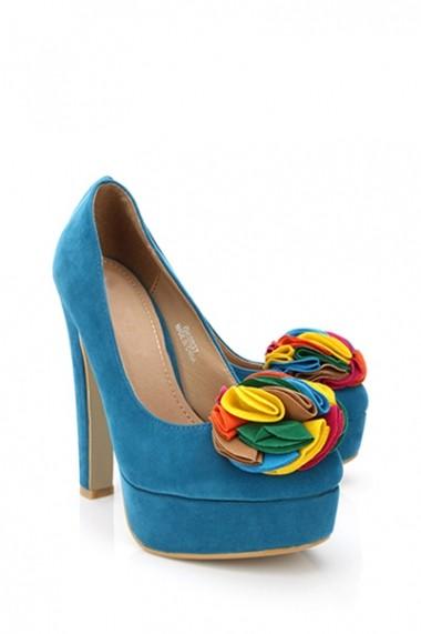 Pantofi cu toc 16222-51391 Albastru