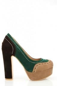 Pantofi cu toc 16957-53229 Kaki