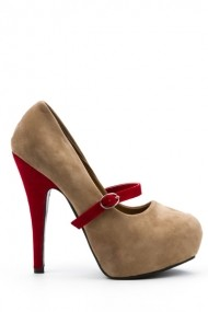 Pantofi cu toc 22124-92452 Kaki