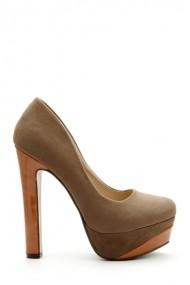 Pantofi cu toc 26038-89717 Gri-bej