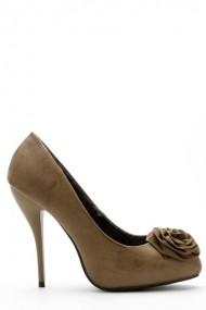 Pantofi cu toc 34777-98517 Gri-bej