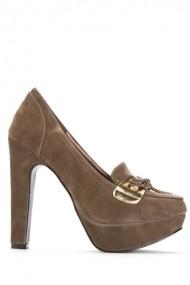 Pantofi cu toc 39087-109367 Gri-bej