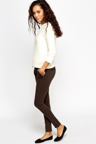 Pantaloni slim 585141-153251 maro