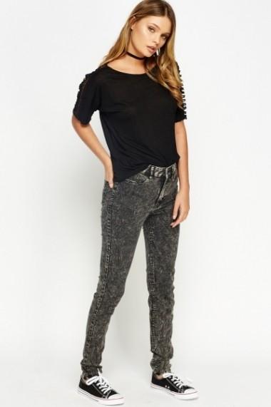 Pantaloni skinny 594393-170682 Negru