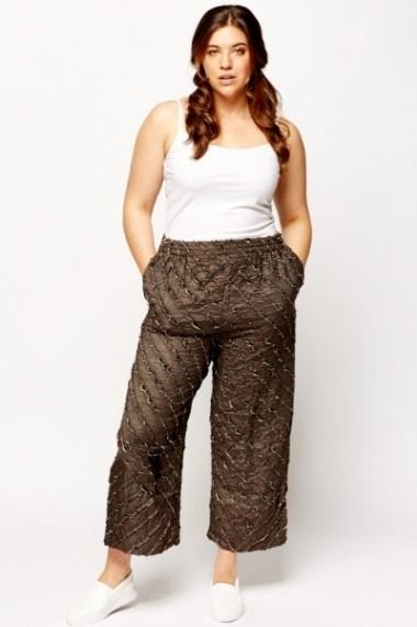 Pantaloni largi 600075-182895 Gri