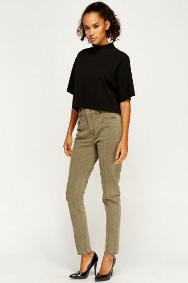 Pantaloni drepti 607607-200173 Verde