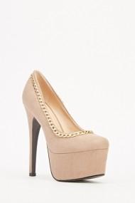 Pantofi cu toc 609316-203978 Kaki