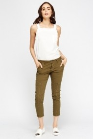 Pantaloni slim 610140-205890 verde