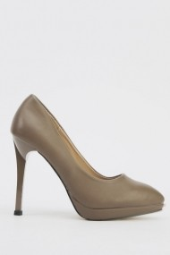 Pantofi cu toc 616902-220385 gri-bej
