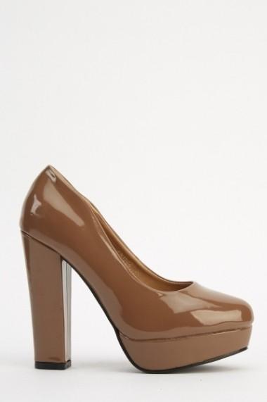 Pantofi cu toc 618123-222705 gri-bej