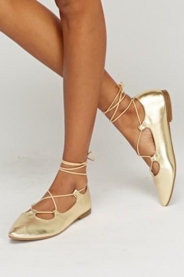 Lace Up Metallic Ballerinas 618136-222737 Auriu