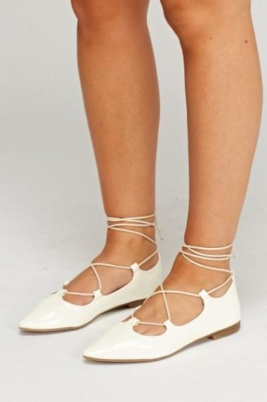 Tie Up Court Flat Shoes 618145-222748 Alb