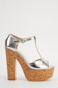 Sandale cu toc 618382-223281 Argintiu