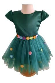 Rochita verde 0-3 ani cu floricele colorate