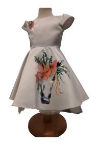 Rochita alba fete 3-6 ani pictata manual cu unicorni