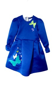 Rochita pictata albastru royal cu fluturasi