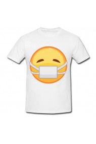 Tricou Emoji mask alb