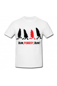 Tricou Run, forest, run! alb