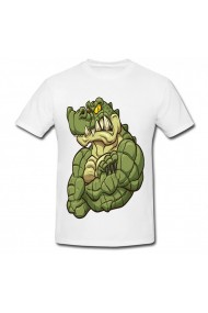 Tricou Muscular alligator alb