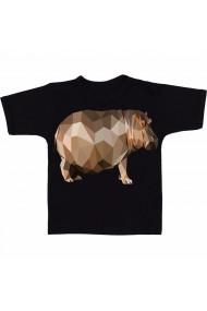 Tricou Hipopotan 3D negru