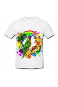 Tricou Papagal si flori alb