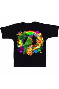 Tricou Papagal si flori negru
