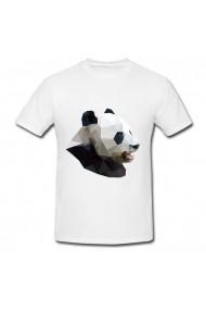 Tricou Geometric panda alb