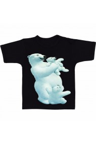 Tricou 3 ursi polari negru