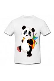 Tricou Panda la scoala alb