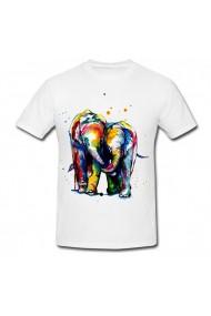 Tricou Elephants canvas alb