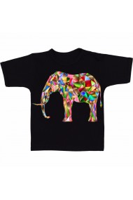 Tricou Elefant geometric color negru