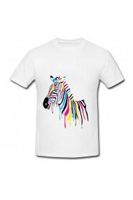Tricou Zebra din vopsea alb