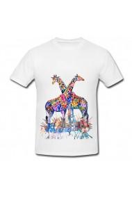 Tricou Pictura girafe alb