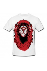 Tricou Red and black lion alb