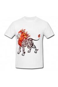 Tricou Fire lion drawing alb