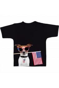 Tricou Caine cu steagul american negru