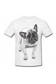 Tricou Bulldog vector alb