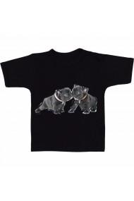 Tricou Black french bulldog two negru