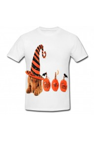 Tricou Halloween and dogs alb