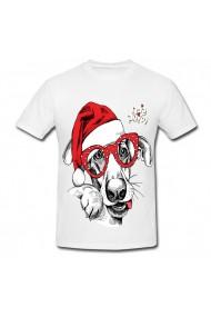 Tricou Face christmas dog alb