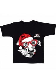 Tricou Face christmas dog negru