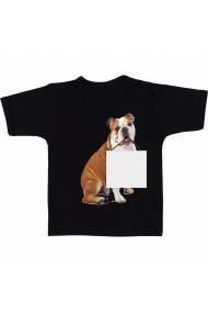 Tricou Dog holding blank negru