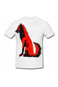 Tricou Black and red wolf alb