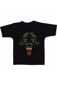Tricou Wolf with mouth open negru