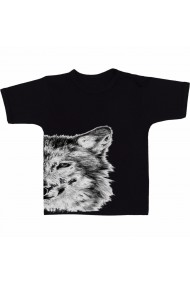 Tricou Black and white fox negru
