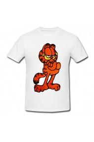Tricou Garfield Fat Cat alb