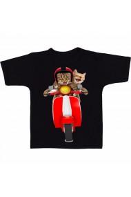 Tricou Pisici pe scuter negru