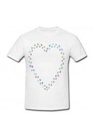 Tricou Heart outline in paw alb